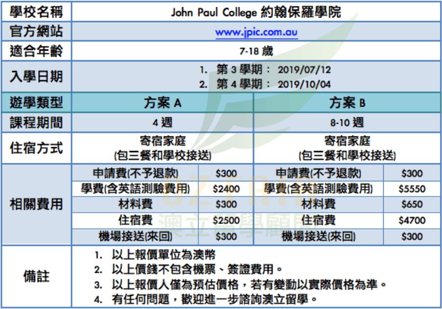 澳立留學 John Paul College 約翰保羅學院 報價 學費 澳洲留學 澳洲移民 澳洲打工渡假 中學留學 小學留學 高中留學